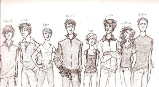 Left to Right: Edward, Caleb, Lynn, Tobias, Tris, Uriah, Marlene
